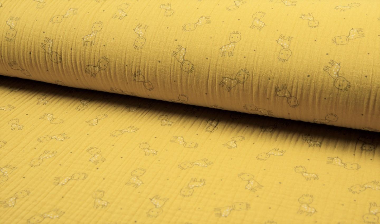 Baumwolle Musselin Triple Gauze ocker mit Giraffen
