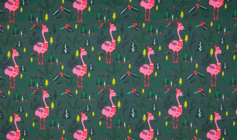 "Sommersweat angeraut ""Christmas Flamingos"" - dunkelgrün"