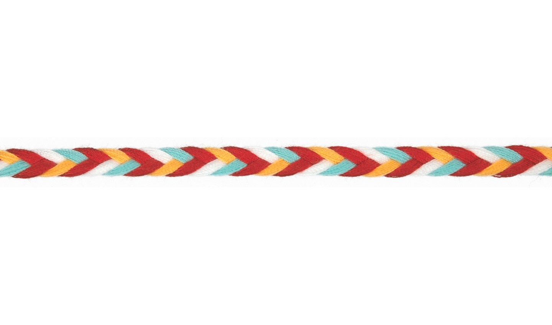Kordel geflochten Baumwolle 8mm flach rot, gelb, mint, weiß