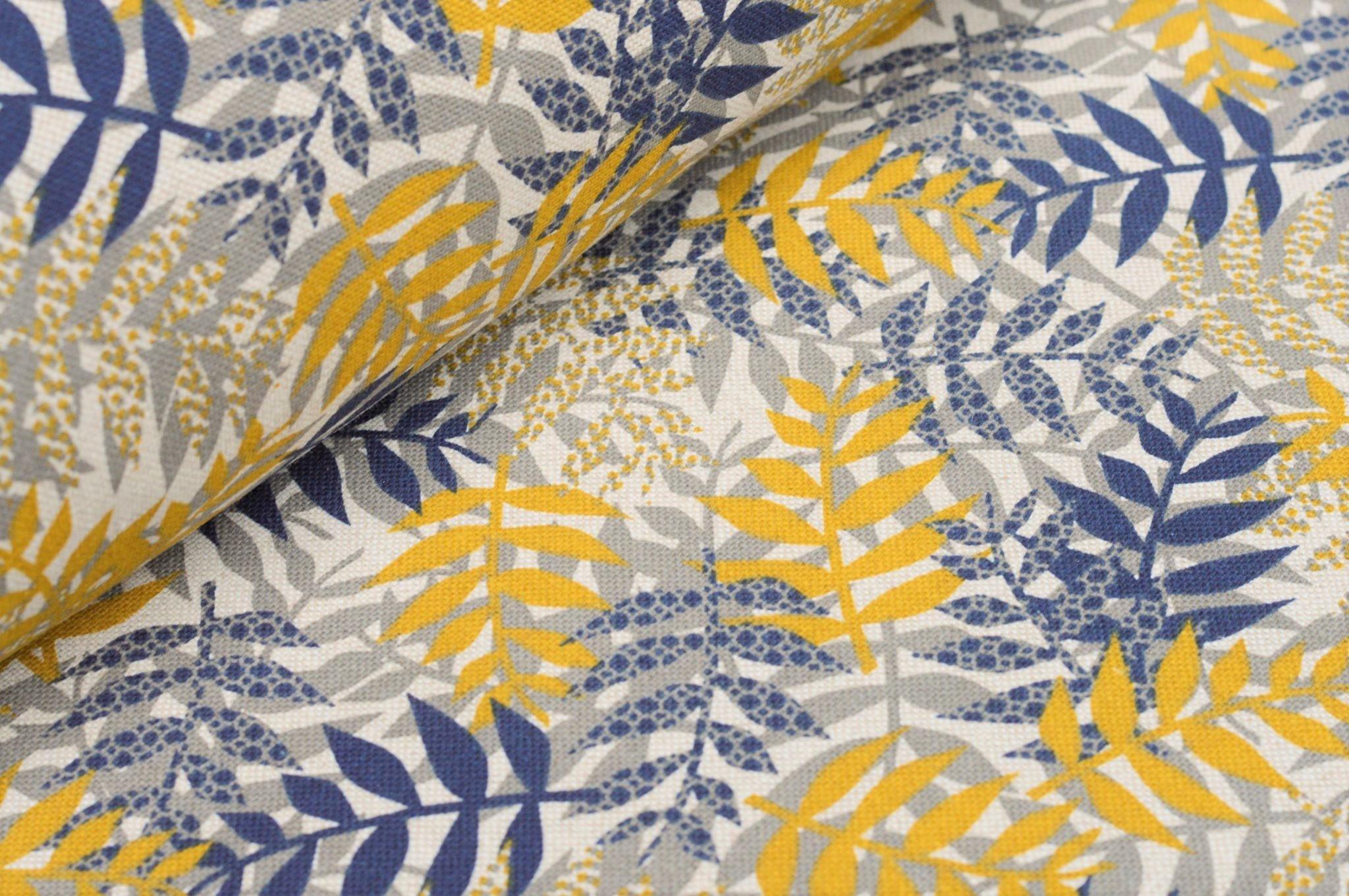Dekostoff mit Blätterzweigen blau/gelb