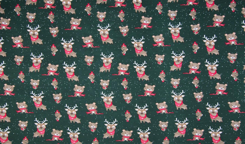 "Baumwolljersey ""Christmas Animals"" - dunkelgrün"