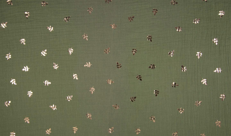 Baumwolle Musselin Double Gauze army mit rotgoldenen Blättern (Foliendruck)