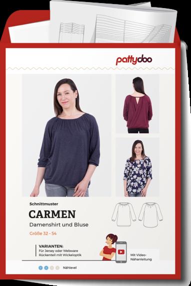 Papierschnittmuster Damenshirt & Bluse Carmen von PattyDoo