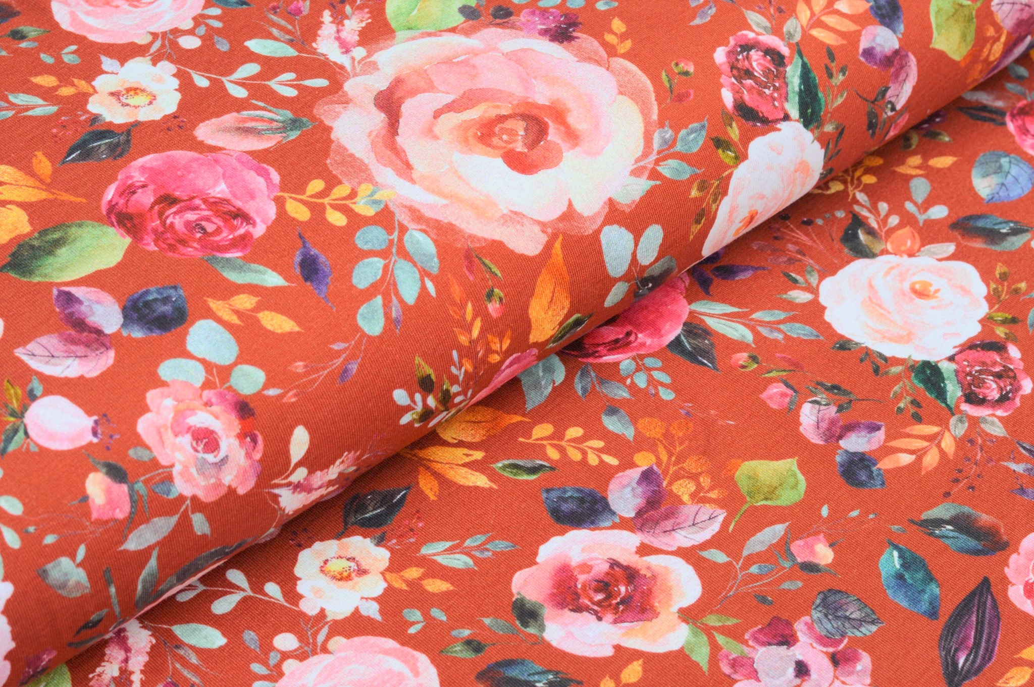 "Digitaljersey Organic Cotton ""Painted Flowers"" - rost"