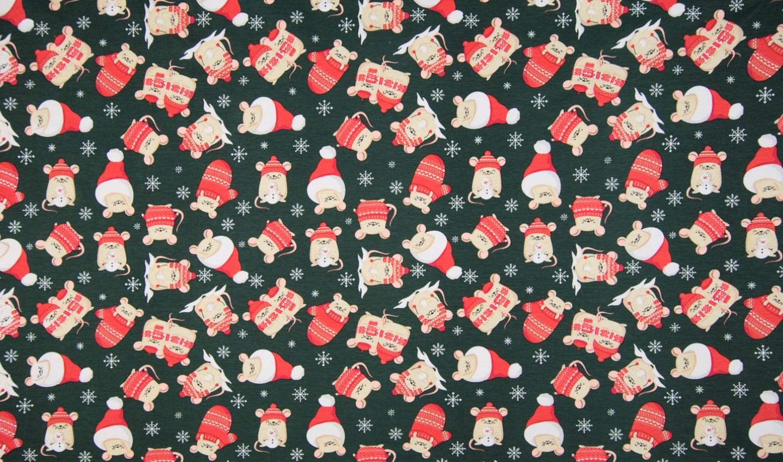 "Baumwolljersey ""Christmas Mouse"" - dunkelgrün"