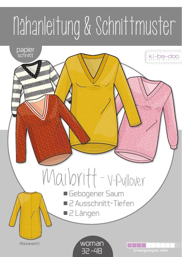 Papierschnittmuster V-Pullover Maibritt Damen 32-48 von Ki-ba-doo