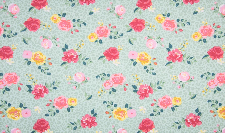 Baumwolljersey mit Rosen - dusty mint