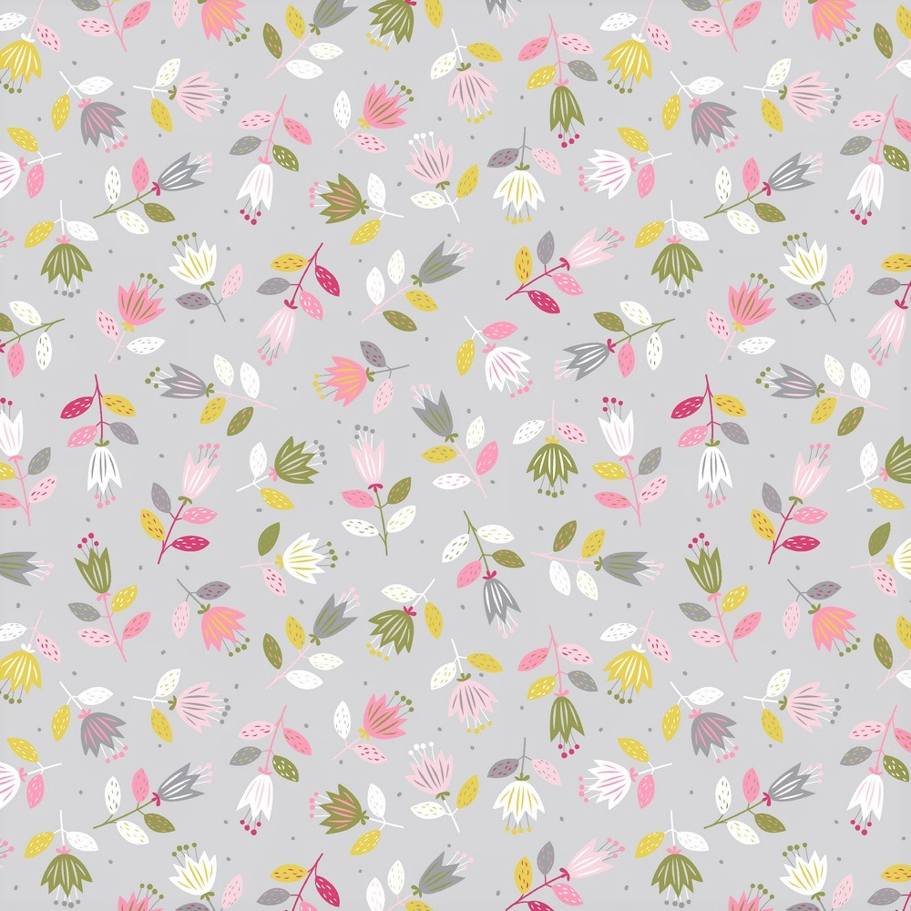 "Sommersweat Organic Cotton ""Spring Flowers"" - hellgrau"