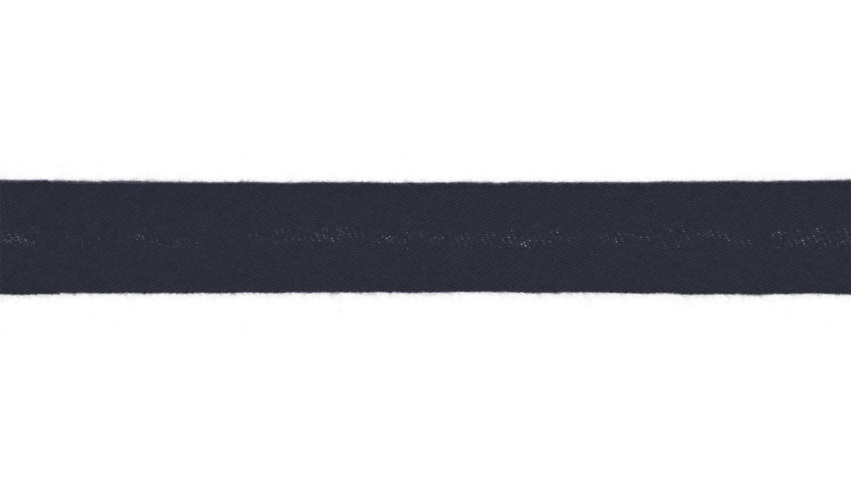 Schrägband Musselin uni navy (008)