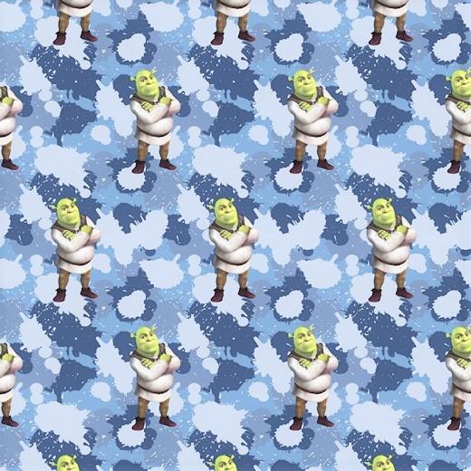 """Sommersweat """"Shrek"""" auf Camouflage  - blau - DreamWorks Lizenzstoff"""