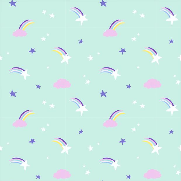 Baumwollstoff mint mit Sternschnuppen, Regenbögen und Sternen