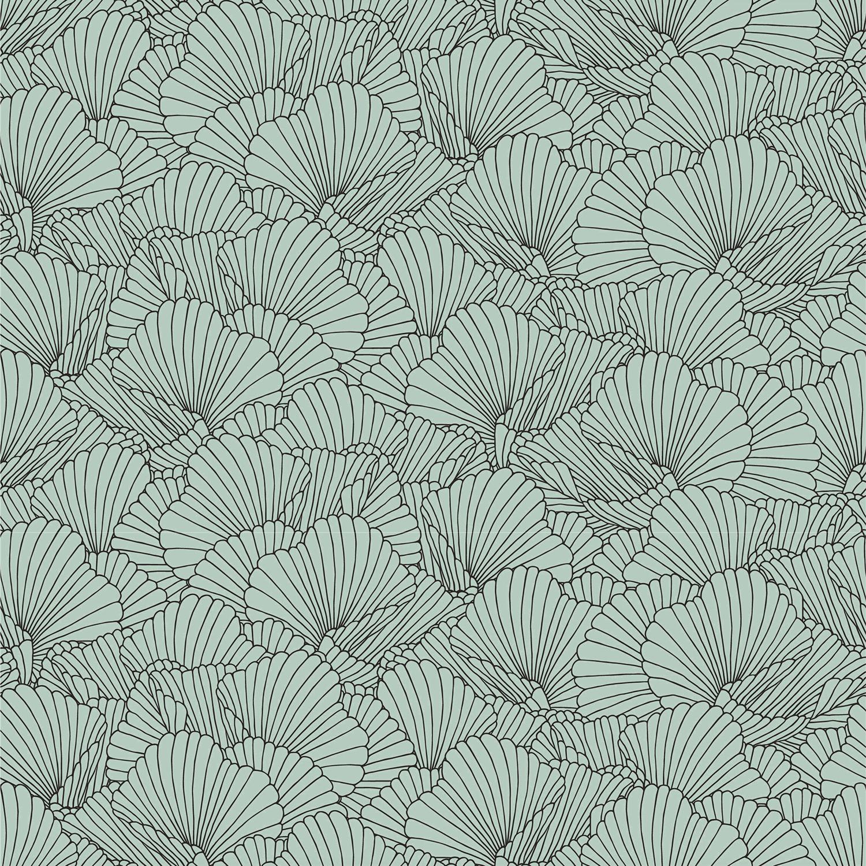 Baumwolljersey mit Ginkoblättern - dusty mint