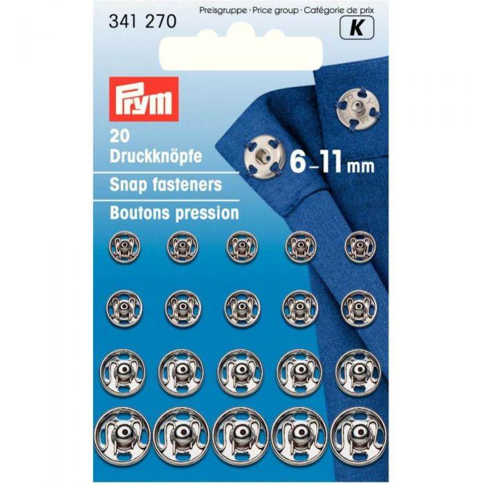 Prym Annäh-Druckknöpfe 6-11mm silber