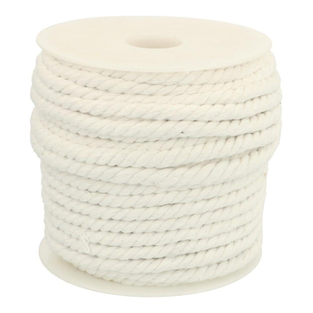 Kordel gedreht Baumwolle 6mm uni weiß