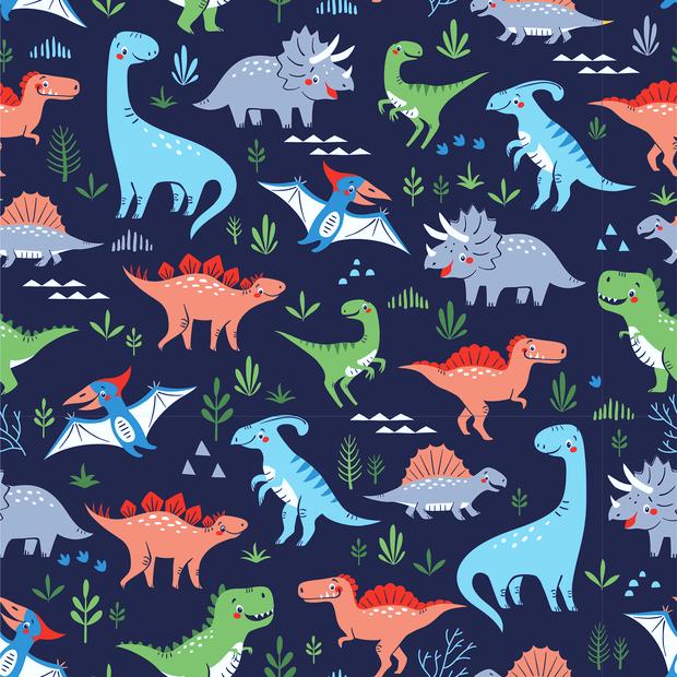 Baumwolljersey navy mit verschiedenen bunten Dinosauriern