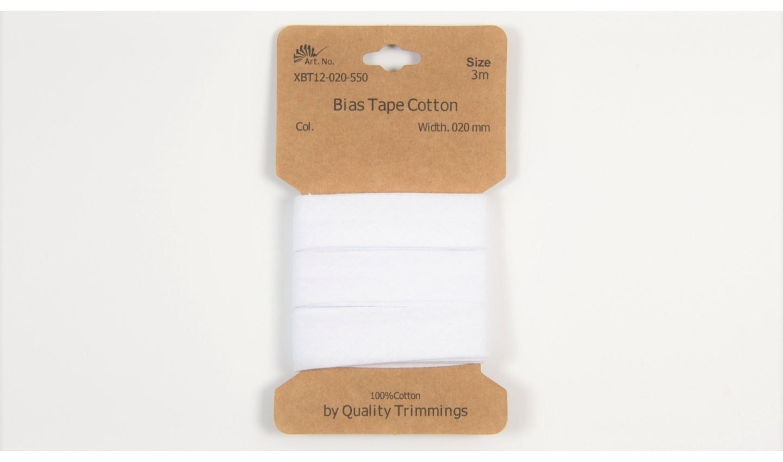 Karte 3m Baumwoll-Schrägband 20mm breit in weiß (550)