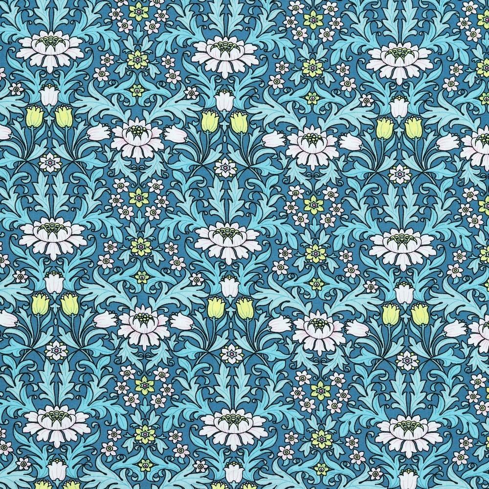 Viskose jeansblau mit Blumenmix