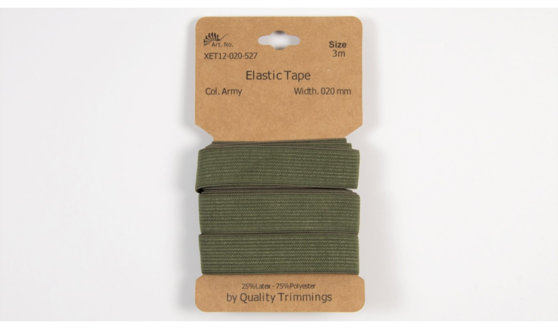 Karte 3m Elastik Gummi 20mm breit in army (527)