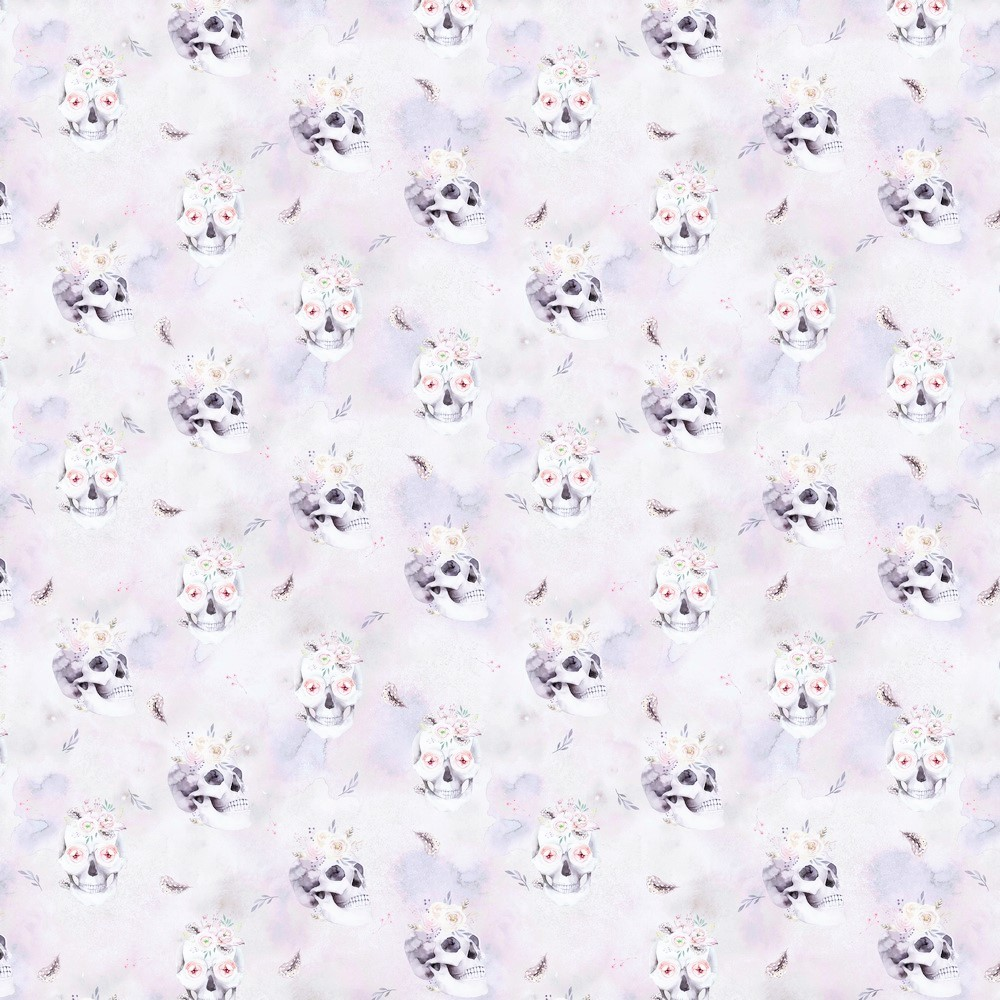 """Sommersweat Organic Cotton pastellfarben mit """"Flower Skulls - Digitaldruck"""