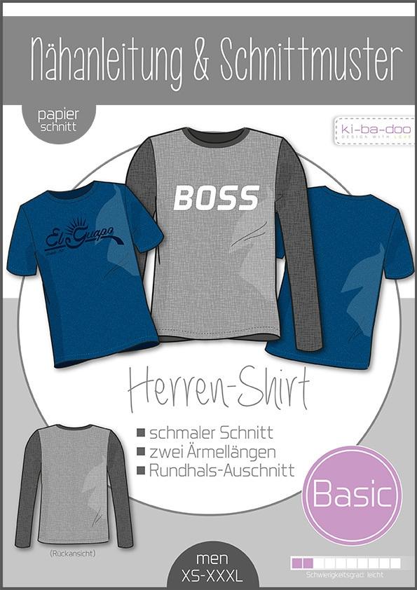 Papierschnittmuster Basic Shirt Herren S-XXXL von Ki-ba-doo