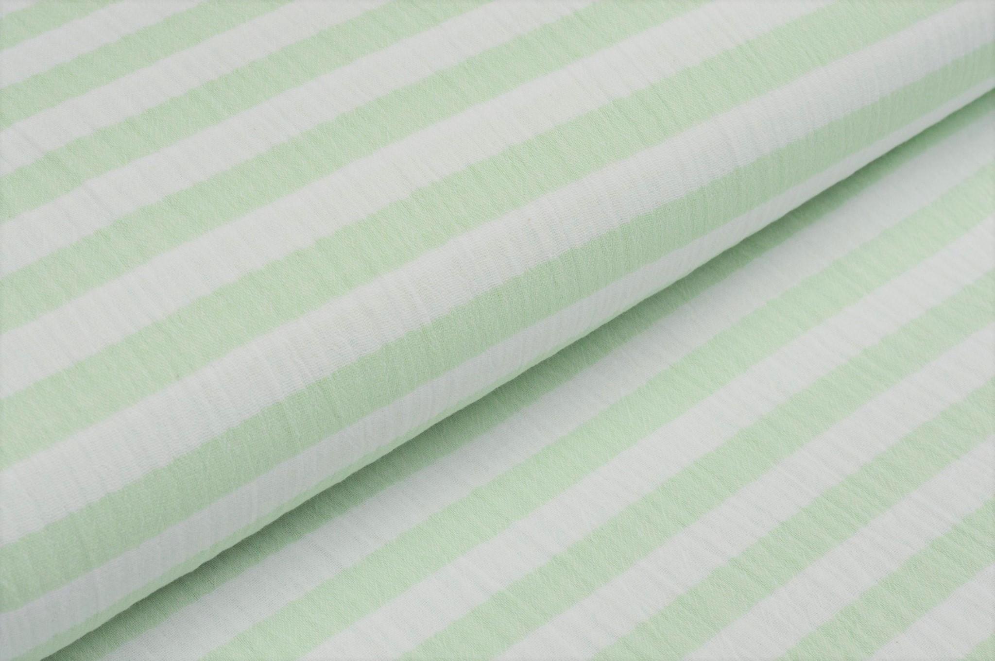 Baumwolle Musselin Double Gauze mit Streifen - ecru/hellgrün