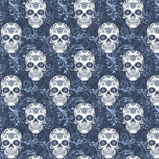 "Sommersweat Organic Cotton ""Skulls"" - dunkelblau"
