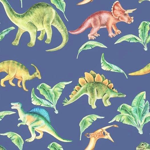 "Sommersweat Digitaldruck ""Dinosaurier Welt"" - jeansblau"