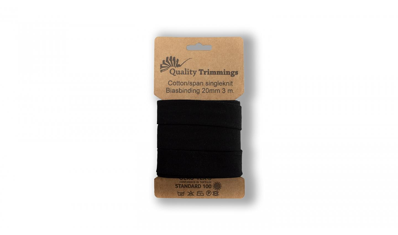 Schrägband Jersey Ben uni schwarz (069) Karte 3m