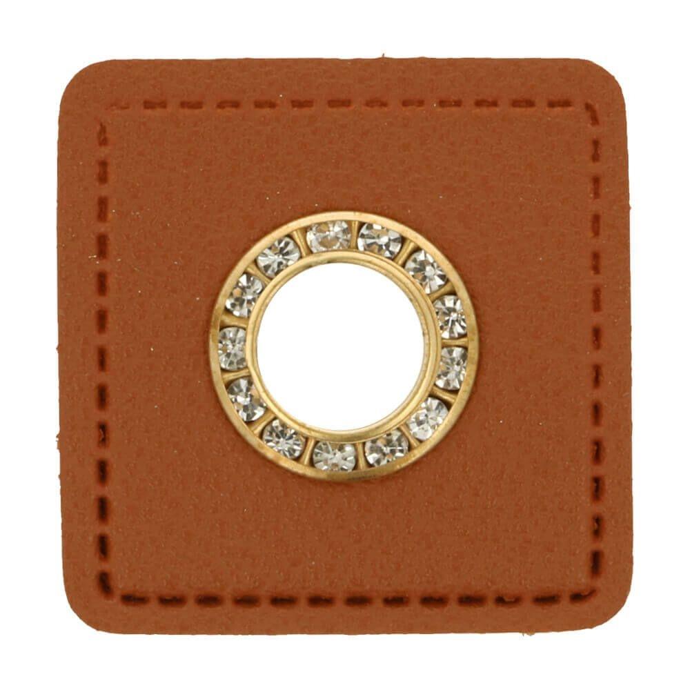 Ösen auf braunem Kunstleder mit Glitzersteinen gold 11mm