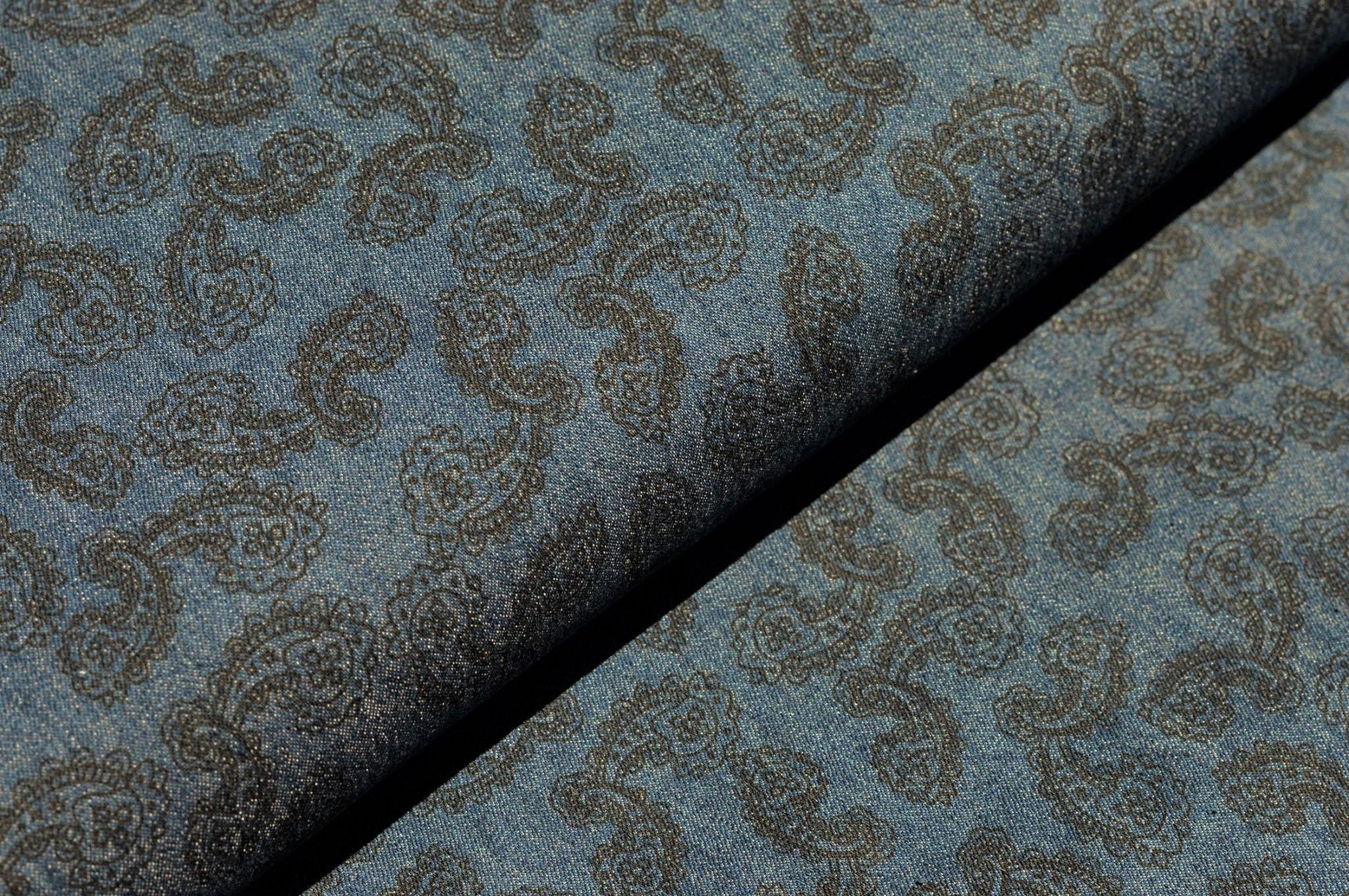 Jeansstoff mit Paisleymuster - dunkles jeansblau