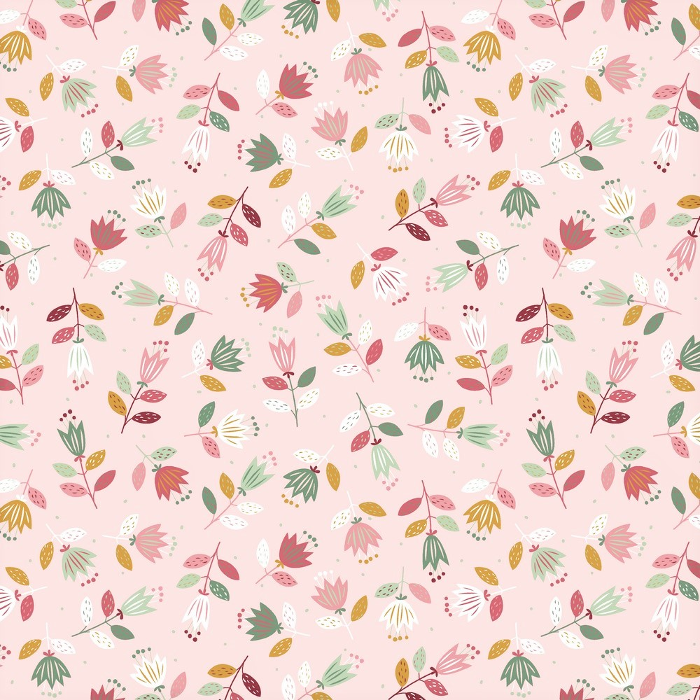 "Sommersweat Organic Cotton ""Spring Flowers"" - light salmon"