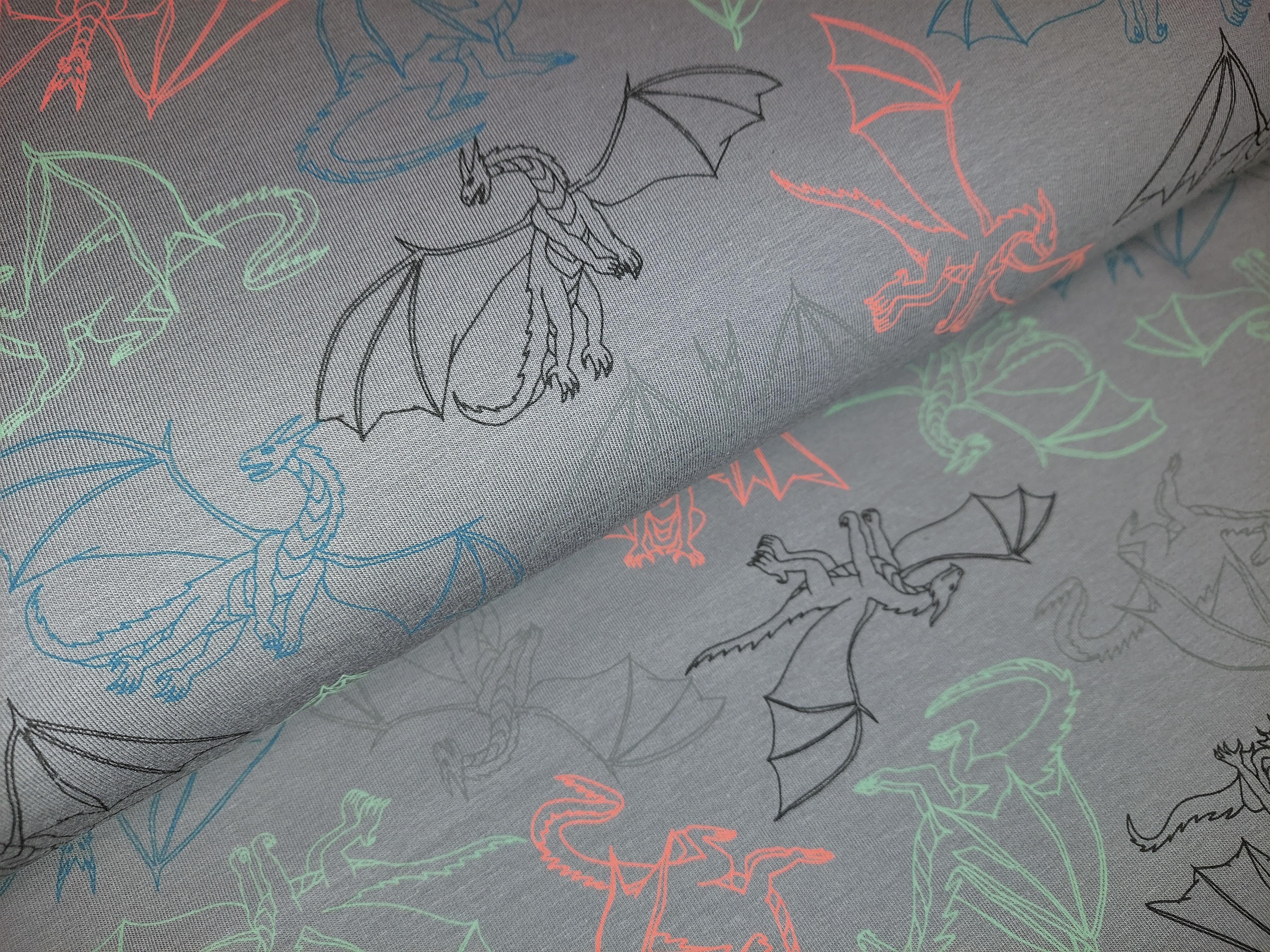 Sommersweat mit bunten Flugsauriern - dunkelgrau