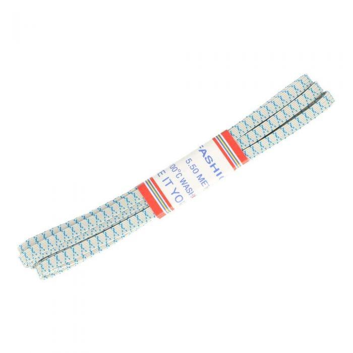 5,5m Bündel Gummi 6mm breit in blau/weiß