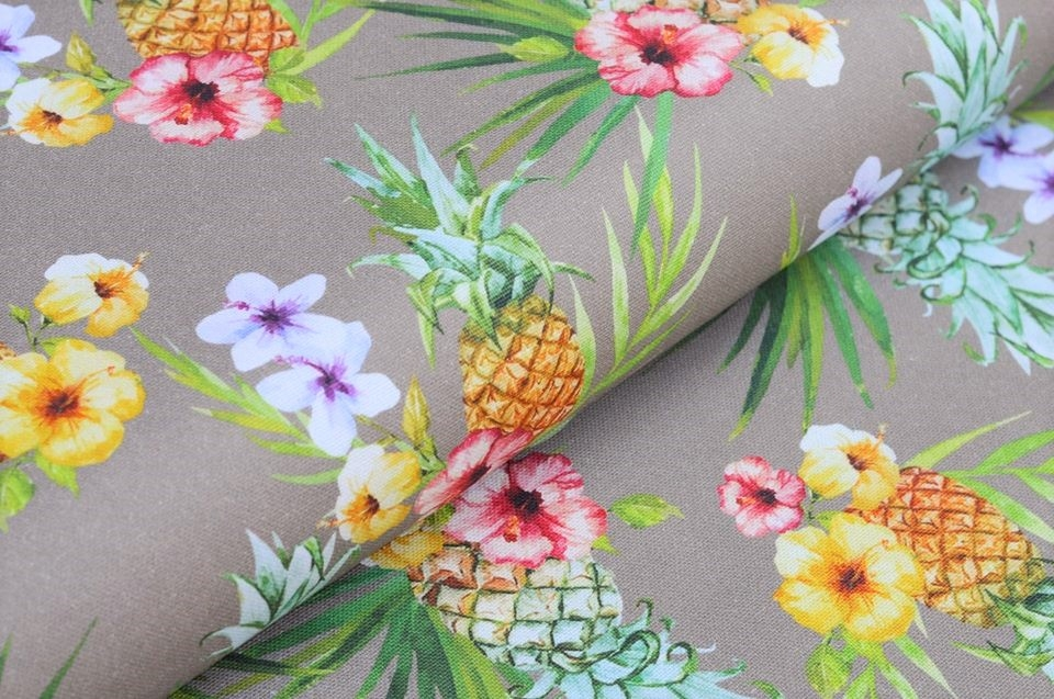 """Canvas taupe """"Tropical Fruits"""""""