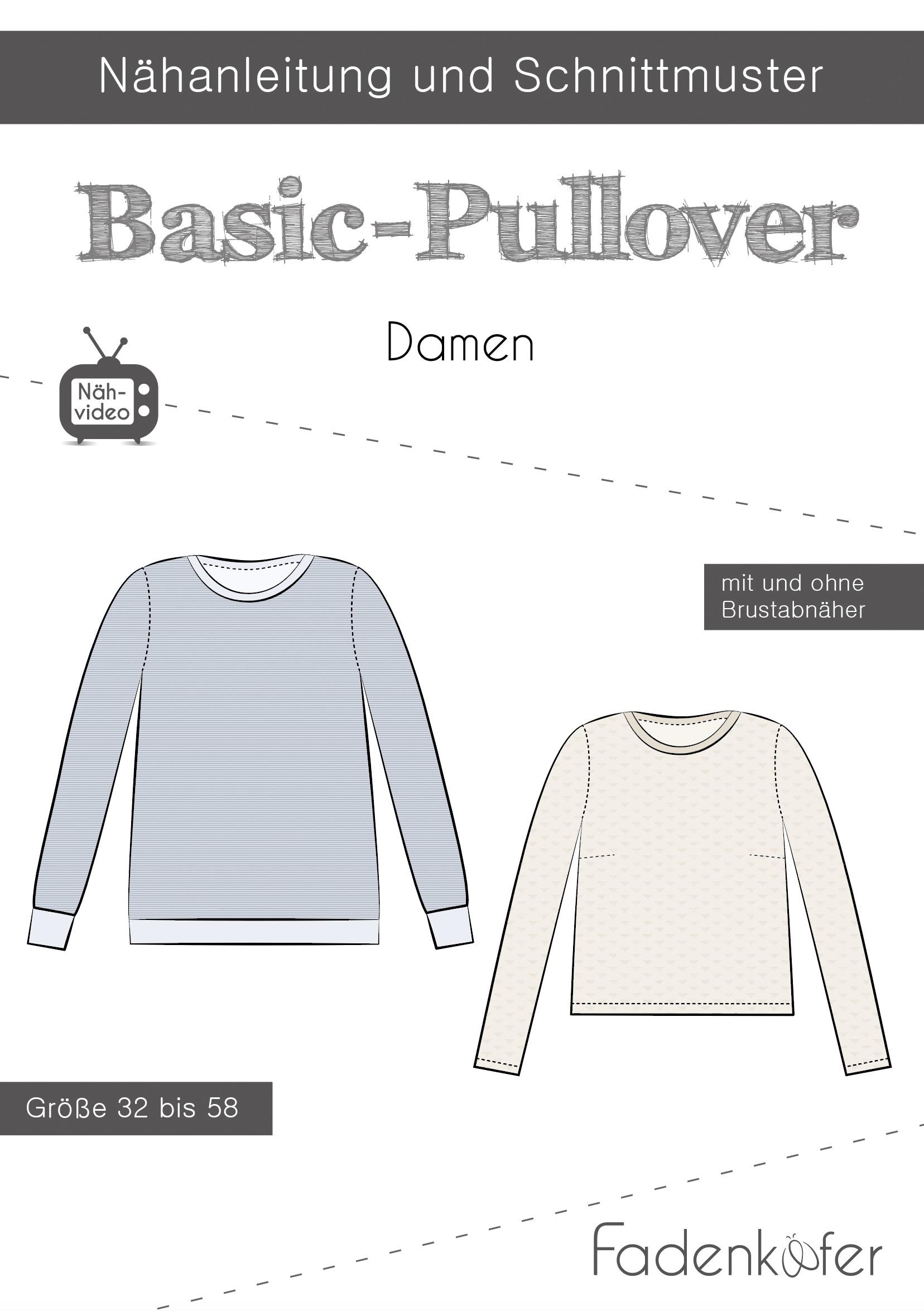 Papierschnittmuster Basic-Pullover für Damen 32-58 von Fadenkäfer