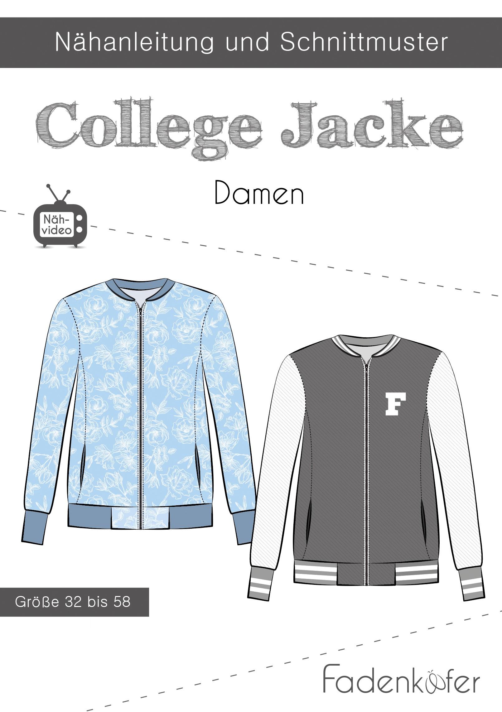 Papierschnittmuster College Jacke für Damen 32-58 von Fadenkäfer
