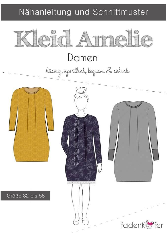 Papierschnittmuster Kleid Amelie für Damen 32-58 von Fadenkäfer