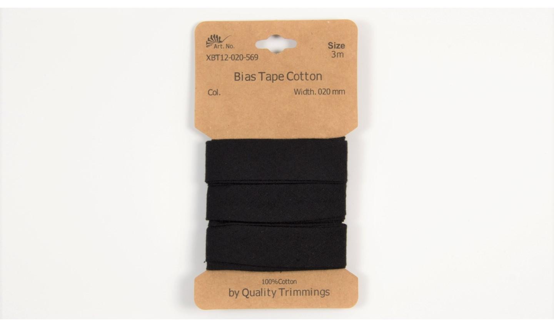 Karte 3m Baumwoll-Schrägband 20mm breit in schwarz (569)