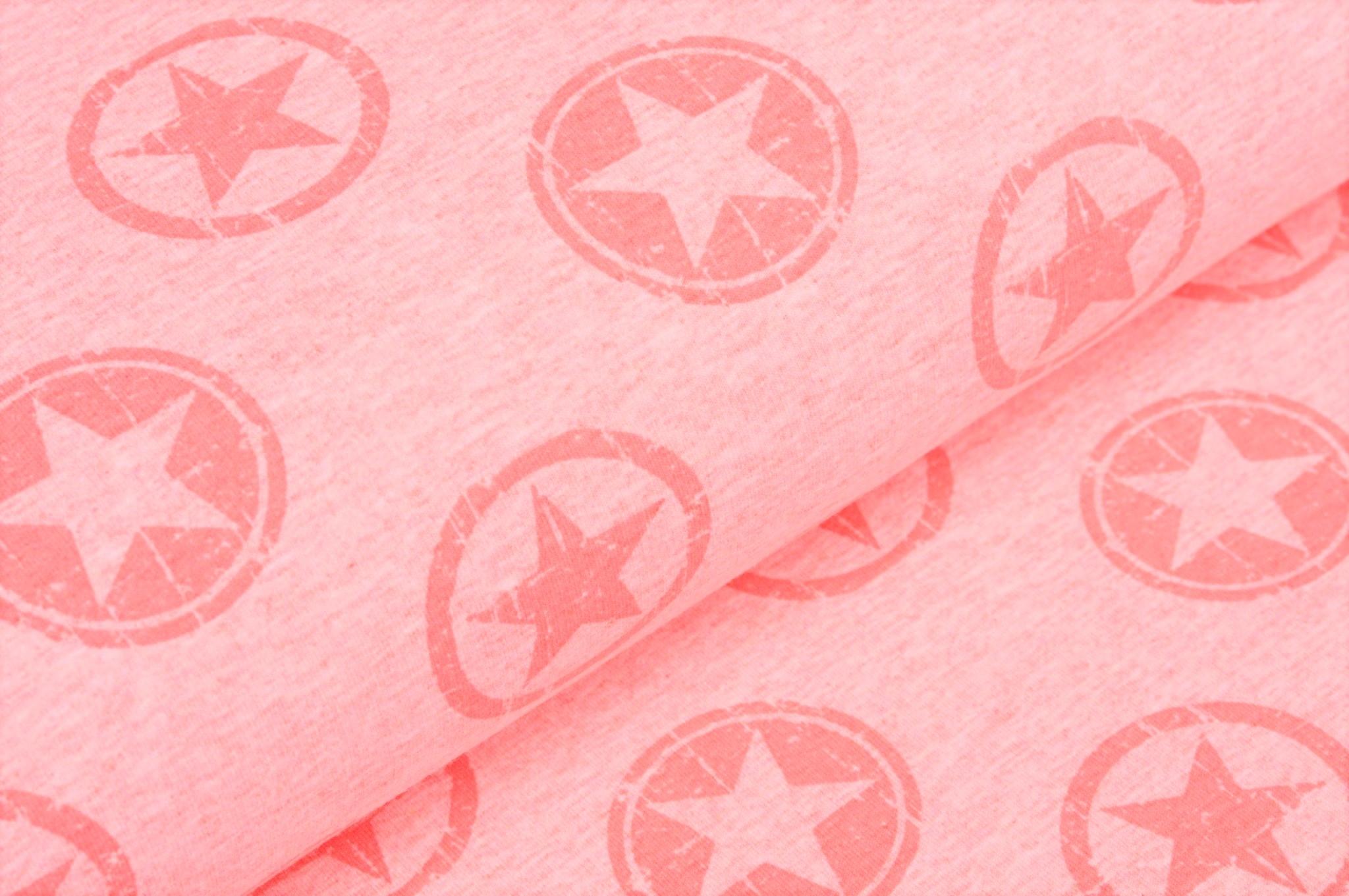 Sommersweat rosa meliert mit Sternen im Kreis