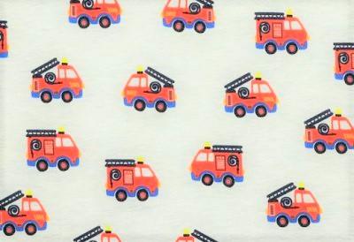 Baumwolljersey ecru meliert mit Feuerwehrautos