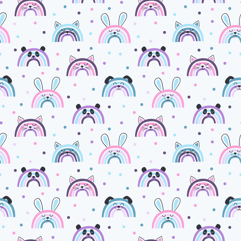 "Baumwolljersey ""Rainbow Animals"" - ecru"