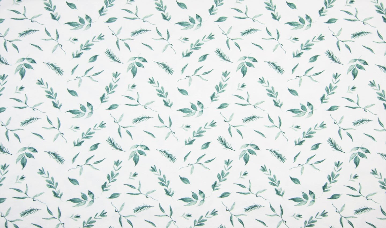 Baumwolljersey mit Blätterzweigen - ecru/dusty green