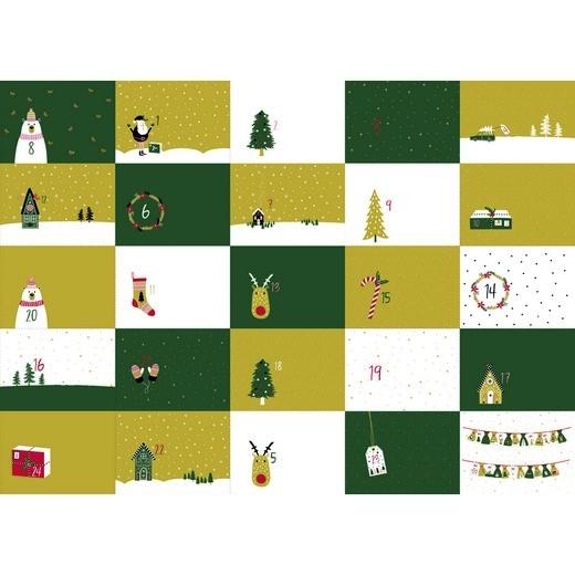 """Baumwollstoff Panel """"Adventskalender Weihnachten"""" grün"""