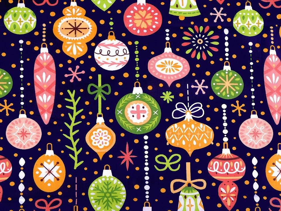 Baumwollstoff dunkelblau mit Weihnachtskugeln