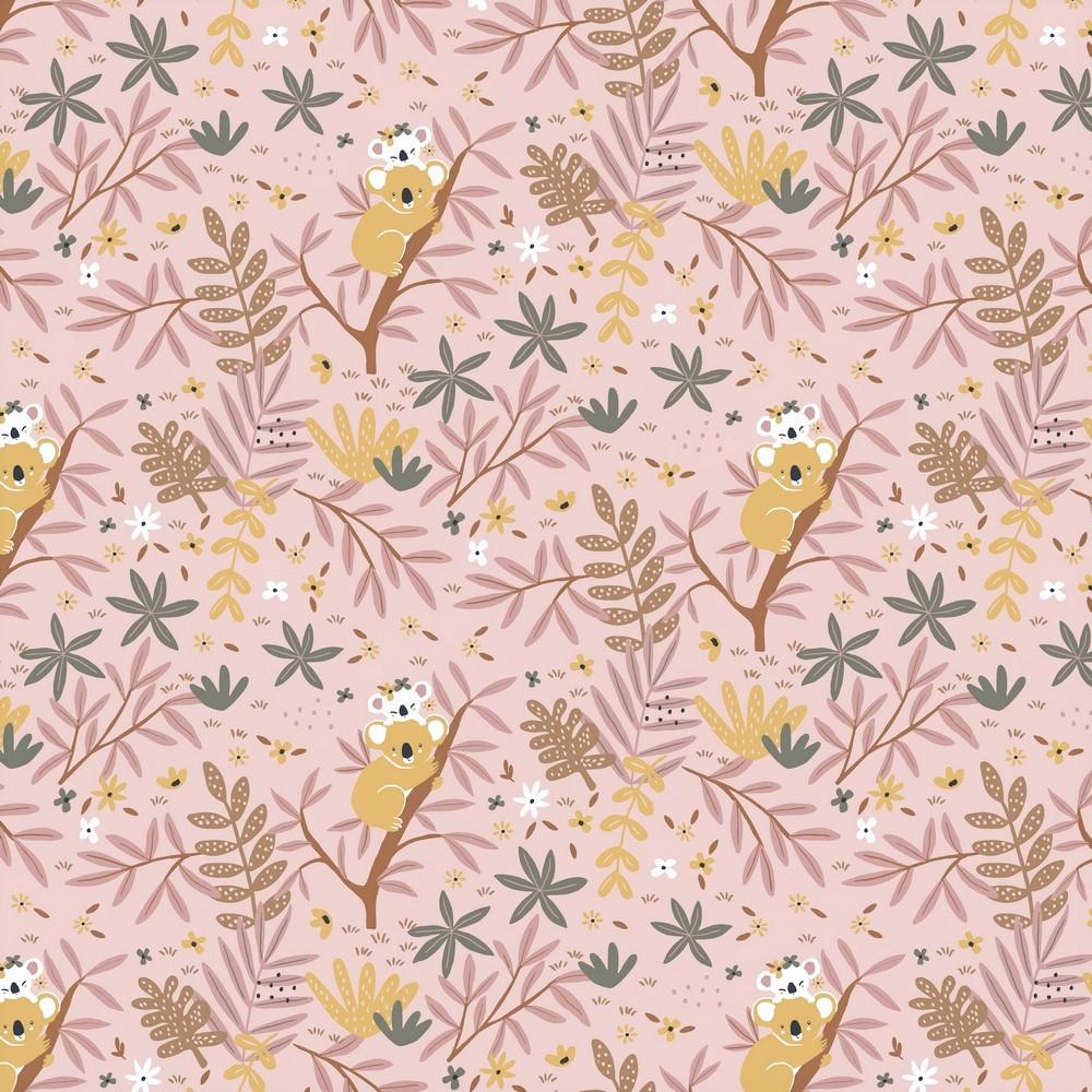 """Baumwolljersey Organic Cotton """"Koalas in the Trees"""" - dusty rose"""