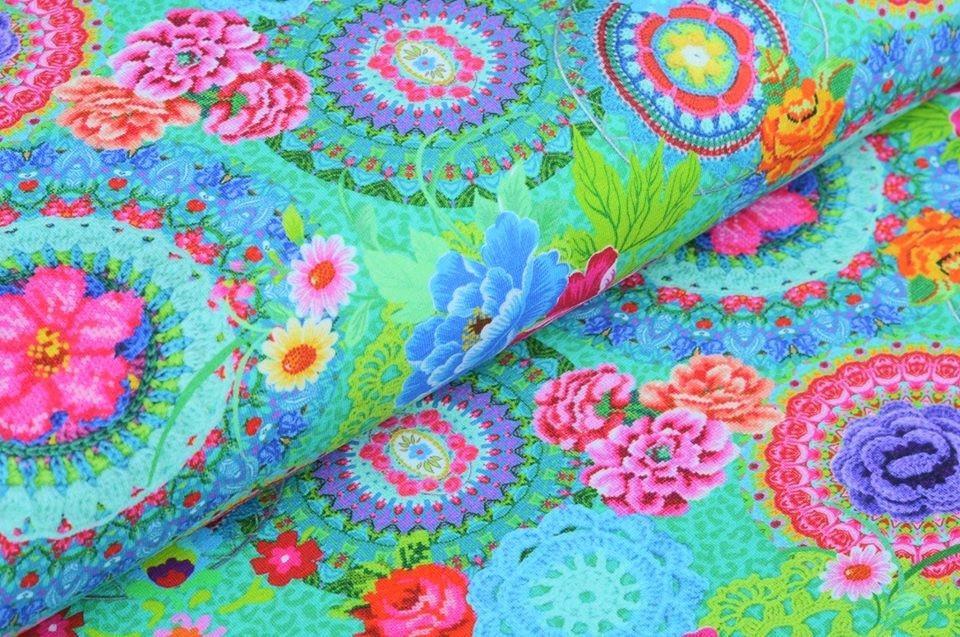 Baumwolljersey grün mit Blumen und Mandala