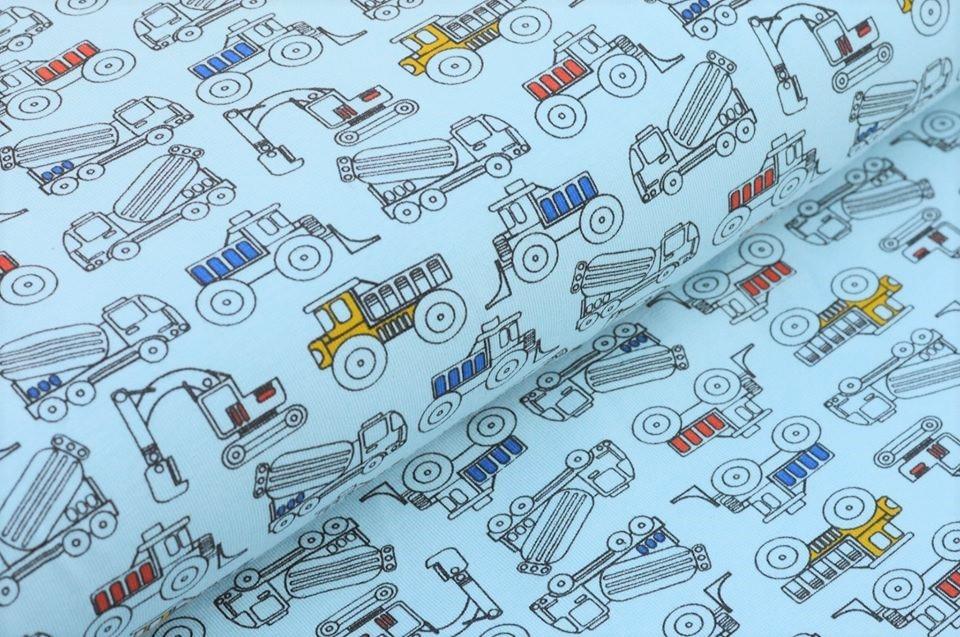 Baumwolljersey hellblau mit Baufahrzeugen