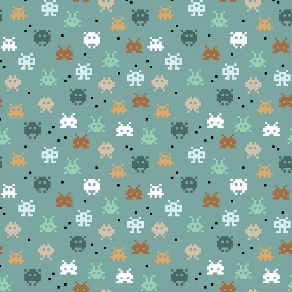"Baumwolljersey Organic Cotton ""Pixel Game"" - dusty green"
