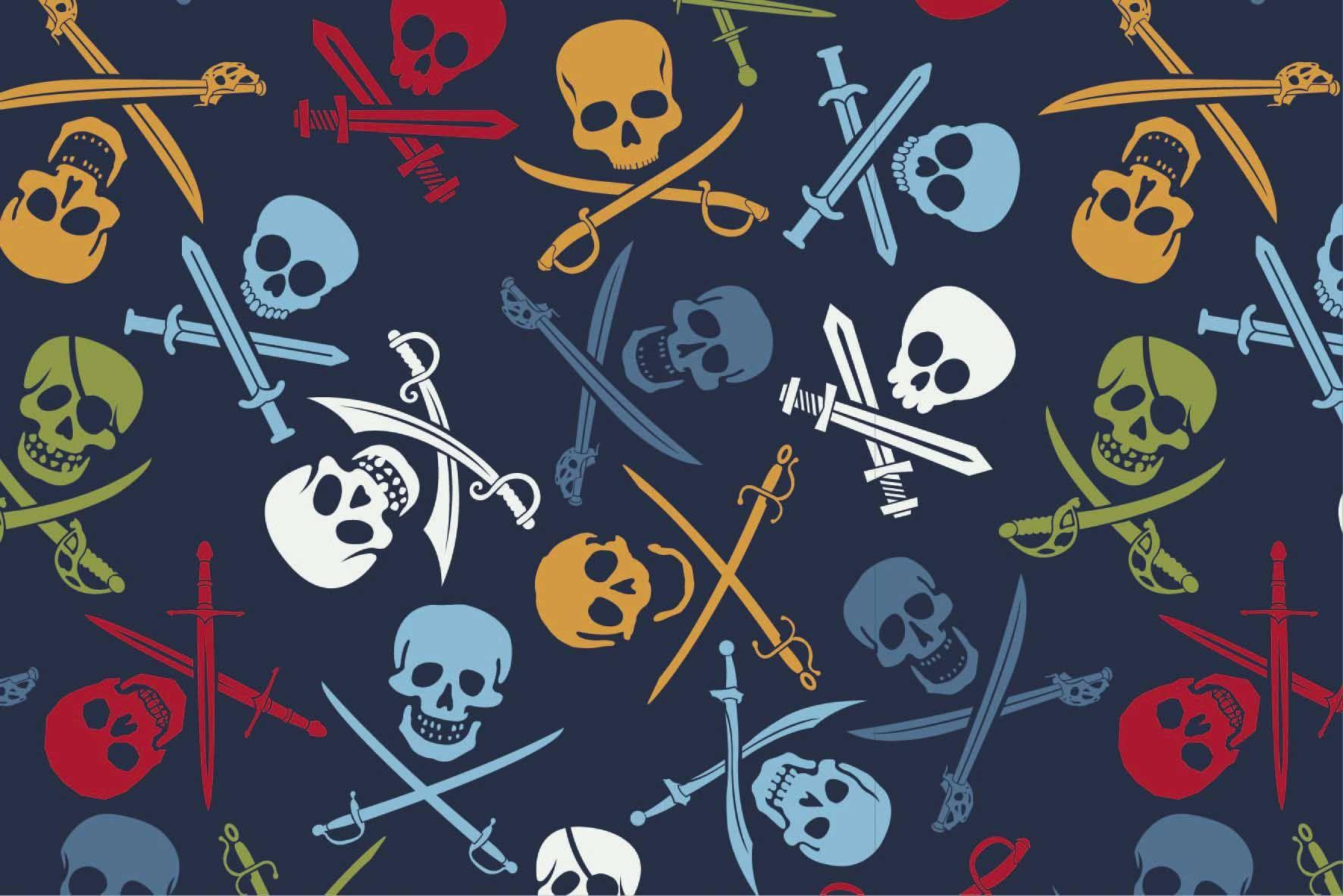 """Digitaljersey """"Pirate Skulls"""" - navy"""