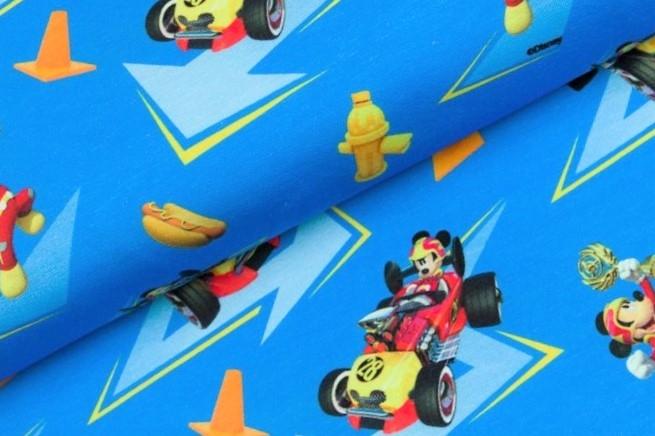 0,73m Reststück   Lizenzjersey Swafing Disney blau Mickey und die flinken Flitzer